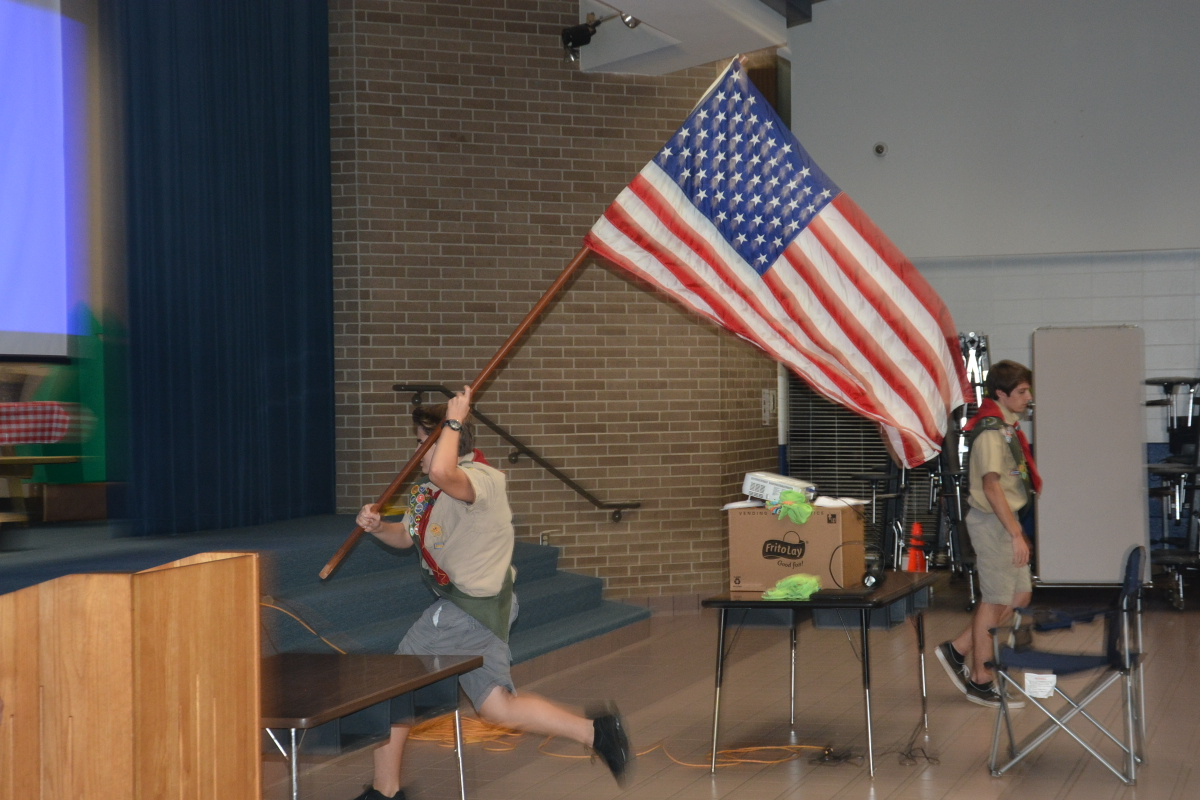 Color guard Jack running