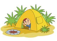 sitting inside tent camping clipart